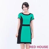 【RED HOUSE 蕾赫斯】圓領雙色剪裁短袖洋裝(綠色)
