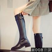 長靴女 粗跟不過膝高筒軍靴長筒皮靴女網紅瘦瘦靴秋冬新款直筒騎士靴 快速出貨