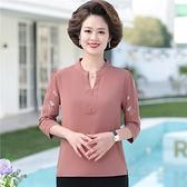媽媽春夏裝2021中袖T恤雪紡襯衫上衣中老年女夏裝短袖洋氣打底衫 618大促銷