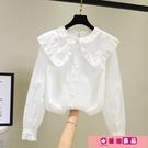 襯衫 白色娃娃領襯衫女設計感小眾2020新款秋韓版復古港味洋氣長袖上衣 源治良品