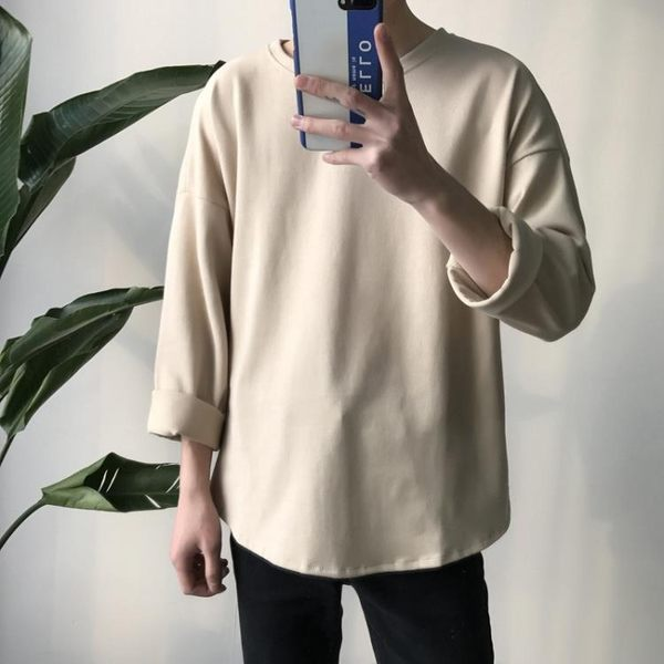 新款男士白色長袖衛衣韓版潮流純色打底衫