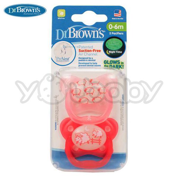 布朗醫生Dr. Brown's PreVent 功能性夜光安撫奶嘴 0-6月-兩入裝【粉色】