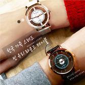2件免運 女錶 手錶 韓版 玻璃縷空手錶 皮革錶帶 聖誕節 生日禮物 交換禮物 男錶 情侶對錶