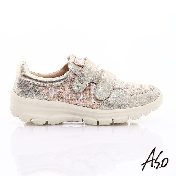 A.S.O 抗震美型 金屬牛皮拼布魔鬼氈奈米休閒鞋 金