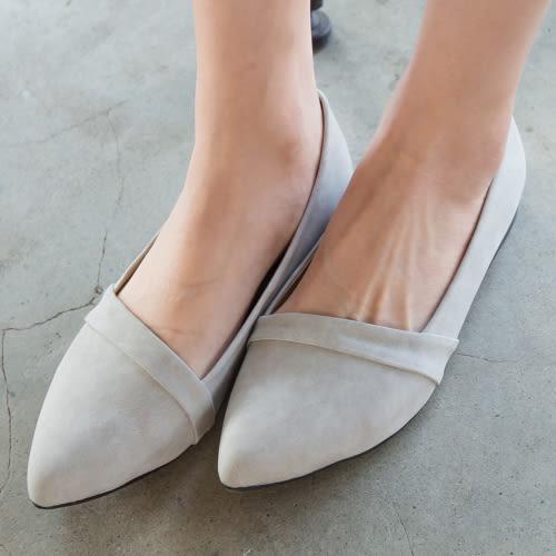 【現貨快速出貨】平底鞋.MIT馬卡龍色皮革甜美尖頭平底鞋.白鳥麗子