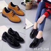 英倫風小皮鞋女秋冬季新款中跟復古百搭女鞋平底學院粗跟單鞋 「潔思米」