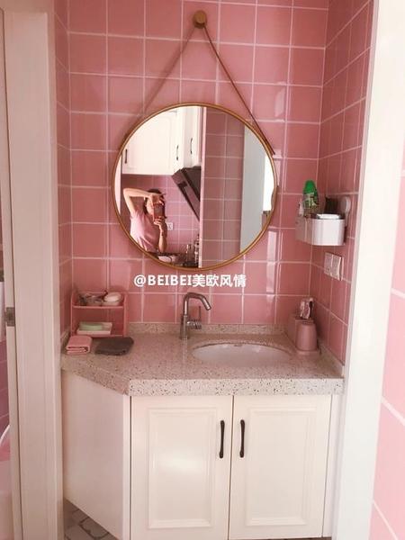 化妝鏡 北歐創意掛鏡輕奢壁掛鏡圓形鏡子化妝鏡浴室鏡圓鏡試衣鏡吊鏡 夢藝