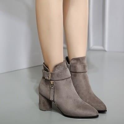 低筒短靴-經典大方復古金屬釦女馬丁靴2色73is17【時尚巴黎】