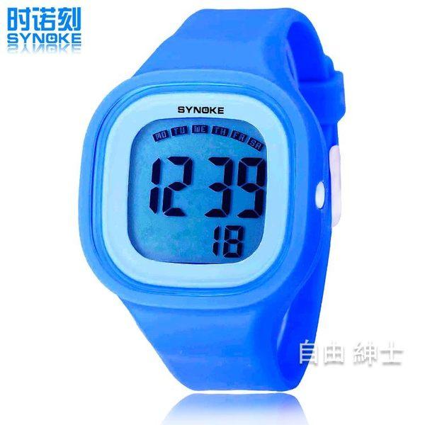 防水正韓兒童手錶中學生女孩果凍電子錶夜光LED情侶錶【一件免運】
