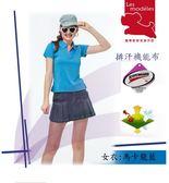 【瑪蒂斯】女款短袖時尚馬卡龍藍前胸線條配色款 透氣3M排汗POLO衫 F597