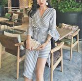 韓版V領條紋綁帶不規則縮腰長袖連身裙連身長裙沙灘裙洋裝