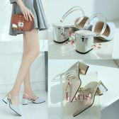 一鞋兩穿涼鞋 夏季中跟尖頭性感舒適粗跟鞋【多多鞋包店】z8041