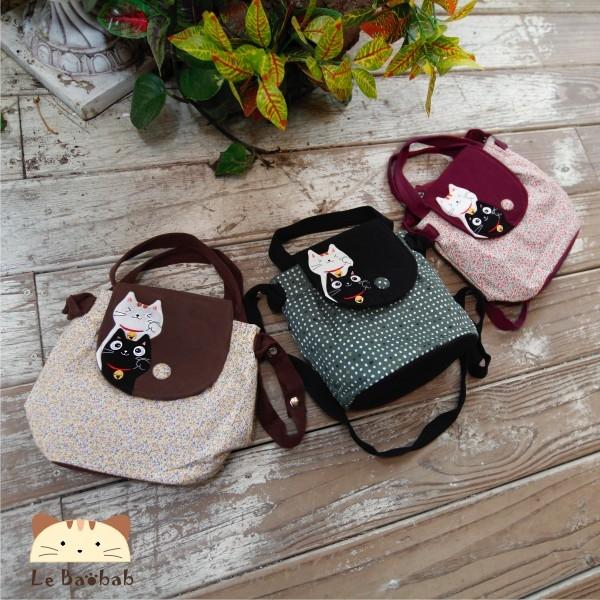 斜背包~雅瑪小鋪日系貓咪包 啵啵貓花布斜背兩用包/側背包/拼布包包