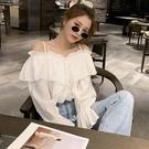 喇叭袖上衣 白色一字肩吊帶襯衫女設計感小眾夏流行正韓時尚洋氣襯衣上衣-Ballet朵朵