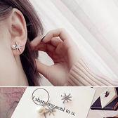 耳環 雪花 鑲鑽 鍊條 金屬 不對稱 氣質 耳環【DD1705138】 icoca  06/29
