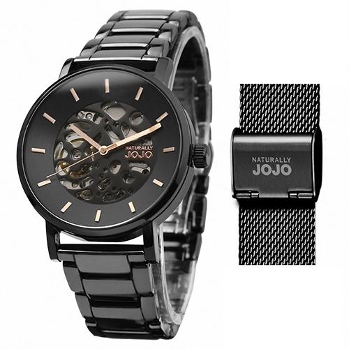 NATURALLY JOJO 玫瑰金氣質 陶瓷機械錶 (JO96960-88F) 米蘭帶 套組/40mm