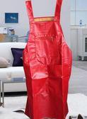 皮革防水圍裙防油 廚房反穿罩衣PU家用成人工作男女     提拉米蘇