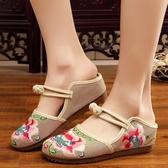 原創洛陽花設計亞麻刺繡民族風繡花鞋女 涼拖鞋搭扣復古半拖鞋布鞋