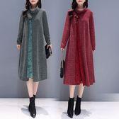 磨毛 拼接蕾絲傘狀洋裝-大尺碼 獨具衣格