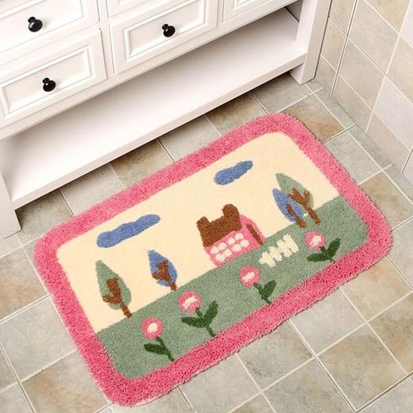 惠多簇絨浴室地墊 門墊臥室地毯進門門口門廳浴室吸水腳墊防滑墊 3C優購