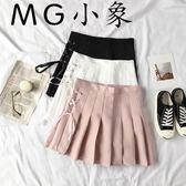 韓版學生時尚純色短裙百褶裙
