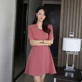 連身裙 洋裝 禮服 連衣裙【現貨】正韓製 波浪領口連身裙 2018首爾平價流行女裝
