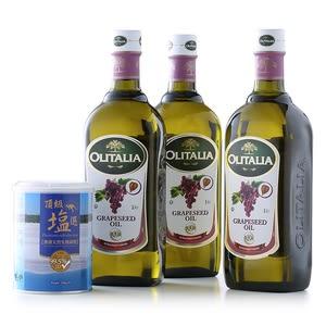 奧利塔 葡萄籽油 1L 三入組+澳洲天然生機湖鹽 550G