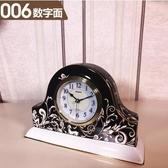 【006數字面(黑色)】歐式座鐘客廳鐘錶時鐘擺件陶瓷石英鐘