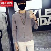男士長袖T恤 寬鬆棉麻大碼純色圓領開衫休閒體恤上衣服春季中國風 店慶大下殺