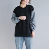 抓絨拼接圓領衛衣女冬季新款復古大尺碼顯瘦褶皺長袖休閒打底上衣潮