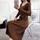 秋冬連衣裙女長袖韓版顯瘦修身中長款過膝針織打底毛衣裙 可可鞋櫃