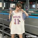球服 籃球服女裝寬鬆bf風韓版外穿夏季2020新款短袖t恤假兩件ins潮上衣