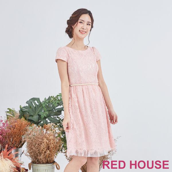 Red House 蕾赫斯-粉嫩蕾絲洋裝(粉色)