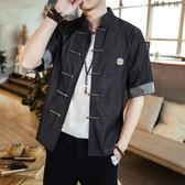 中國風牛仔襯衫男士夏季短袖唐裝