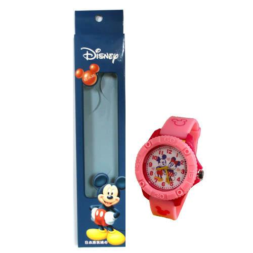迪士尼 米奇米妮手牽手 齒輪款膠錶 -粉