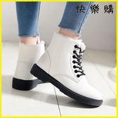 雪靴 韓版皮面棉鞋冬鞋馬丁短靴百搭加絨雪地女鞋