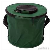 釣魚桶折疊水箱便攜帶蓋水桶活魚桶釣魚用具工具箱裝魚箱帆布魚桶 aj6745『pink領袖衣社』