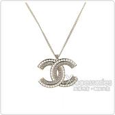 CHANEL 雙C LOGO珍珠鑽鑲飾項鍊(金)
