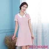 【RED HOUSE 蕾赫斯】素面小花翻領洋裝(共2色)