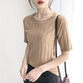 降價兩天 春裝女2020新款潮冰絲T恤薄款短袖五分袖針織上衣寬鬆中袖打底衫