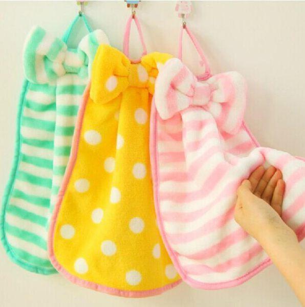 韓系超可愛珊瑚絨擦手巾 蝴蝴結 多功能 衛浴 洗頭巾 抹布 毛巾 廚房 圍巾 可掛式 吸水 浴巾 6001