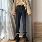 春季2020新款灰色高腰牛仔褲女九分褲顯瘦直筒寬鬆老爹褲ins潮 玫瑰