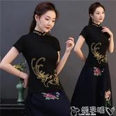 雙11民族風上衣夏季新款民族風女裝立領繡花上衣中國風復古盤扣短袖打底衫T恤女