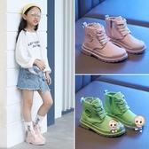 靴子 女童馬丁靴短靴2020秋季新款兒童時尚春秋單靴女孩中大童帆布靴子 4色26-37