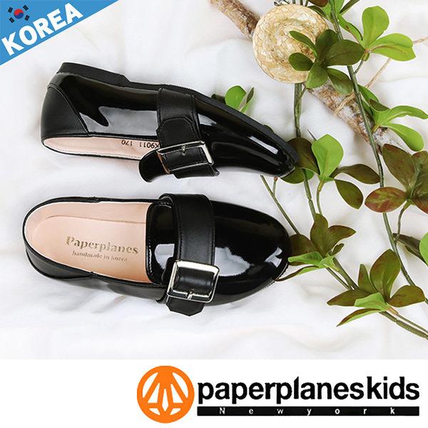 PAPERPLANES 紙飛機 童鞋 正韓製 方頭鐵扣 漆皮時尚 懶人鞋 童鞋【B7909011】