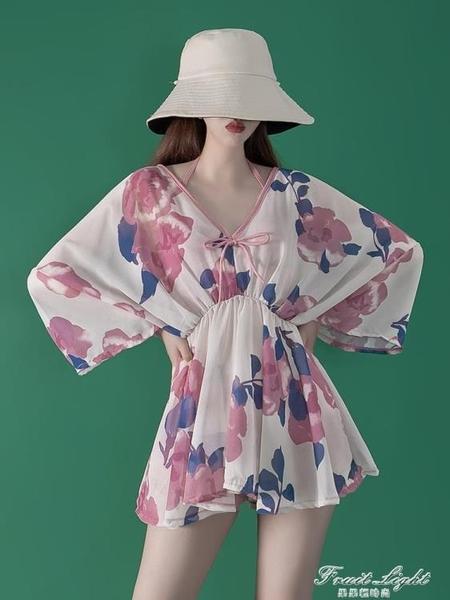 梨花海棠2020新款保守學生遮肚顯瘦溫泉三件套泳衣女 果果輕時尚