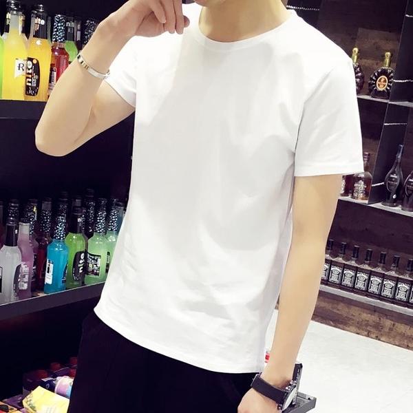 純白短袖打底t恤男士衣服半袖2021新款純棉男冰感學生白t體桖定制【快速出貨】