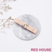 Red House 蕾赫斯-優雅珍珠水鑽蝴蝶結髮飾(粉色)-滿599出貨