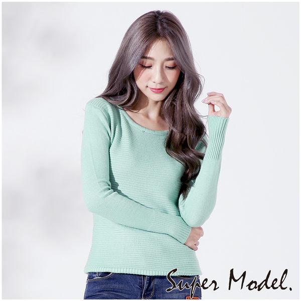 【名模衣櫃】清新細緻橫條針織衫-青綠色(F可選) 32886