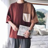 大尺嗎 夏季棉麻短袖五分袖T恤男士加肥加大碼胖子寬鬆上衣體恤 QQ5066『東京衣社』